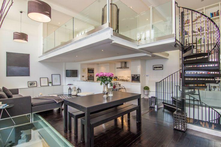 ein loft in london | loft wohnung, wendeltreppe und holzboden, Innenarchitektur ideen