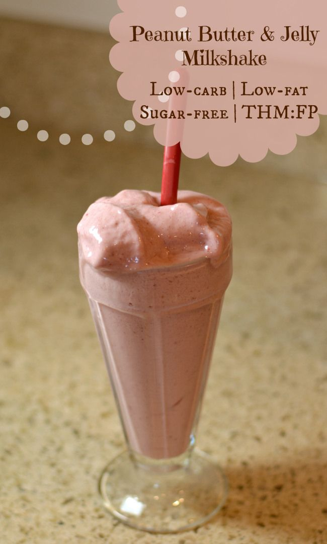 This yummy PB&J milkshake is low-fat *and* low-carb!  And trust me, it doesn't taste it!  Low-fat, low-carb, sugar-free, THM:FP