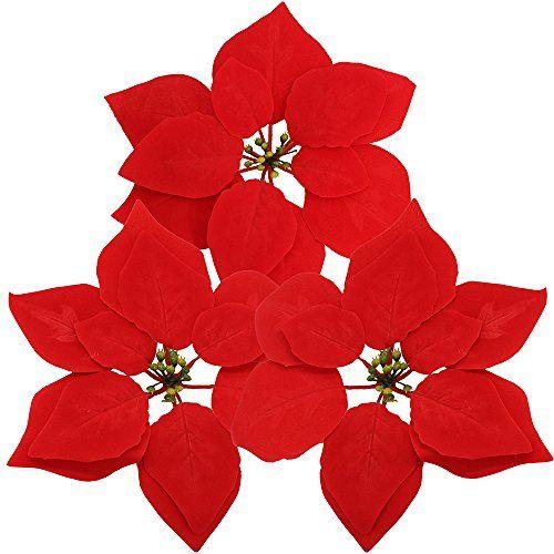Supla 30 Pcs Velvet Poinsettia Flower Heads 8 3 Bloom Di Https Www Diy Christmas Tree Ornaments Holiday Floral Arrangements Christmas Flower Arrangements