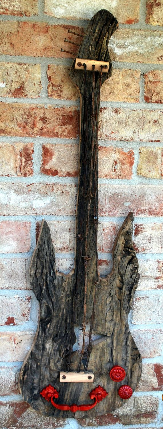 Aged barnwood guitar, great wall decor for music lover or conversation piece