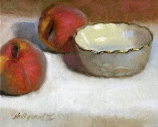 "Peaches with Lenox Bowl 8""x10"" Oil on canvas by Hall Groat II"