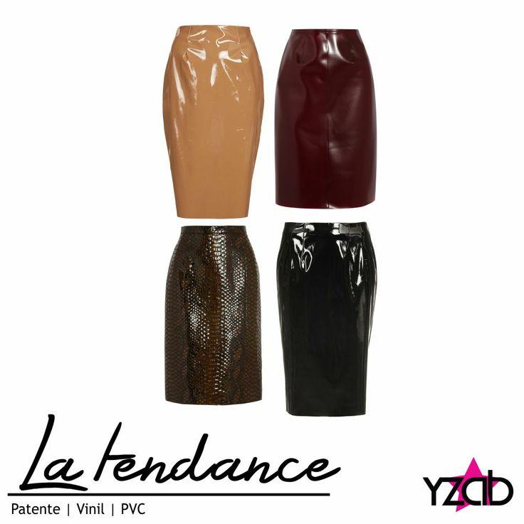 """REPORTE #YZAB TENDENCIAS 2014 Texturas: vinil, PVC o patente Esta textura ya no es exclusiva para carteras, zapatos y correas, pues esta temporada podemos llevarla en faldas, vestiditos pegados como los propuestos por Versace, faldas tubo como las presentadas por Burberry o botas hasta arriba de la rodilla al estilo Chanel en su desfile otoño/invierno 2013/14. Marcas """"low-cost"""" como Topshop, Asos y H&M (que no hay en Venezuela) han incluido esta tendencia en su recientes colecciones."""