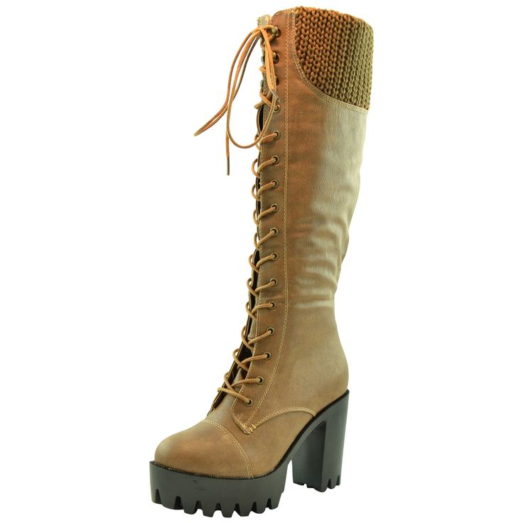 $32.95 • Women's Knee High Boots • Chunky High Heel Platform Lace Up Boot  Available in Black or Taupe. www.kstoresusa.com