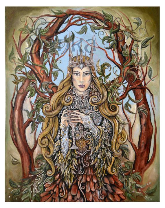 Original oil painting  Queen of the Forest painting by JankaLart