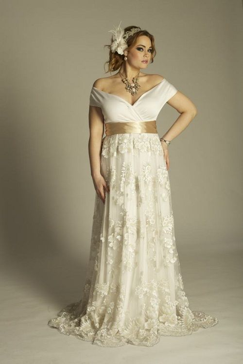 This Is An Off The Shoulder Plus Size Wedding Dresses With Short Sleeves And Empire Waist Line