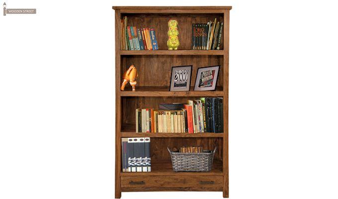 Sabella Large Book Shelf (Teak Finish)-1 : Buy Best large Sabella #bookshelves #online @ https://www.woodenstreet.com/sabella-large-book-shelf-teak-finish