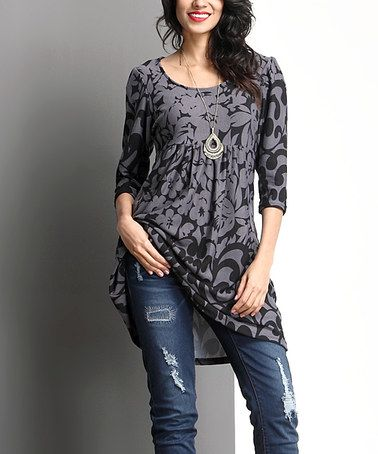 Loving this Charcoal Floral Empire-Waist Tunic on #zulily! #zulilyfinds