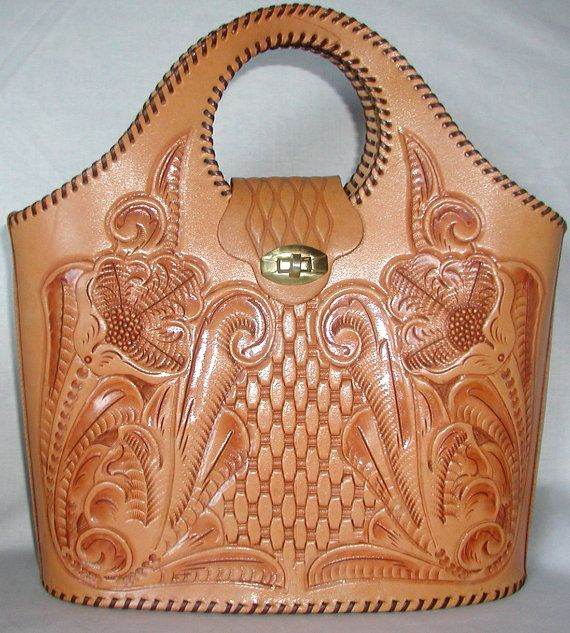TOOL TIME  Tooled Leather Vintage Tote in Minty Condition