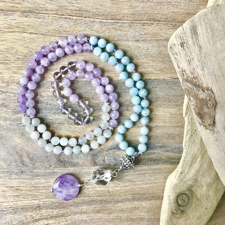 Aquamarine, Lavender Amethyst and Moonstone Mala Necklace  / 108 mala beads / Knotted Buddhist Necklace / 108 Yoga necklace / Gifts for Her by SharonweinDesigns on Etsy