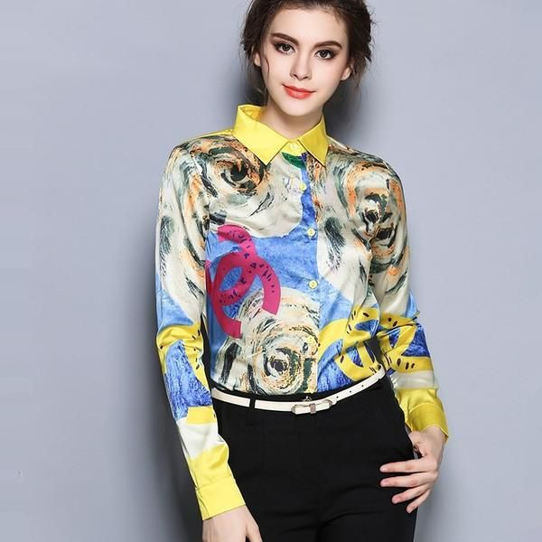 FREE SHIPPINGAttention: Please Measure Carefully Your Size and Compare with Our Size Guide So You Choose Correct Size.Clothing Length: RegularStyle: FashionFabric Type: ChiffonSleeve Length: FullDecoration: NonePattern Type: PrintCollar: Turn-down CollarSleeve Style: RegularMaterial: Silk,PolyesterGender: WomenSize: S,M,L,XL,XXL     Size(Cm) Shoulder Bust Length Sleeve     S 37 88 61 60   M 38 92 62 61   L 39 96 63 62   XL 40 100 64 63   XXL 41 104 60 64           ...