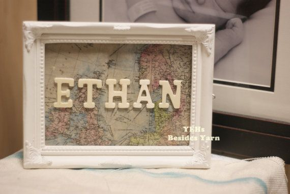 Welcome to the world - 5x7 Baby name room canvas panel decoration with homemade antique map