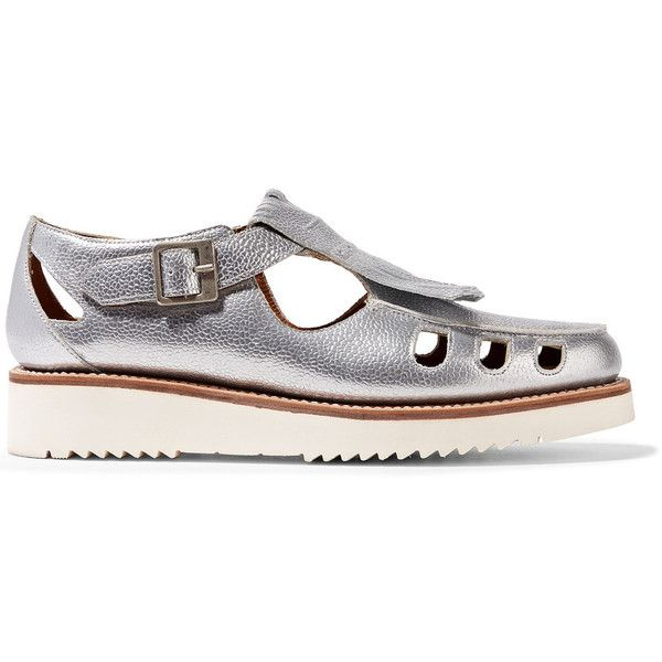 Grenson - Ethel Metallic Textured-leather Loafers (1,505 GTQ) ❤ liked on Polyvore featuring shoes, loafers, silver, balmoral shoes, monk-strap shoes, metallic brogues, grenson brogues and loafer shoes