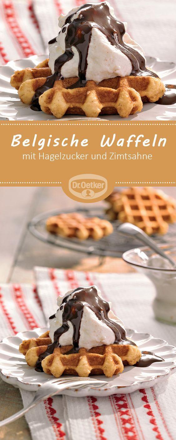 Belgische Waffeln - Feine Hefeteig-Waffeln mit Hagelzucker, Zimtsahne und heißer Schokolade #rezept #waffel #belgien