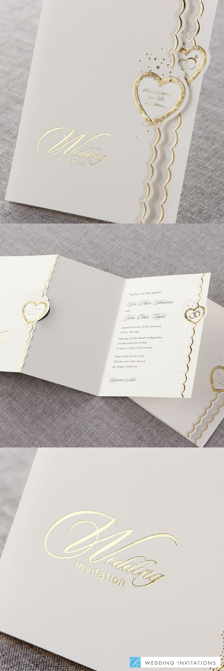 Embossed Gold Hearts tri-fold