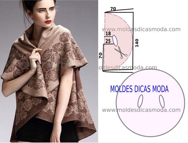 O molde para capa de inverno feminina foi por mim testado e encontra-se no tamanho único. As medidas da ilustração do molde não têm valor de costura tem que ser acrescentado. Descrição do modelo: este