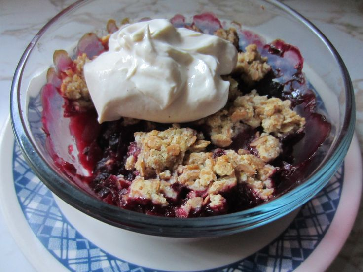 Apple and Berry Crumble with Ricotta Cream !  Delicious