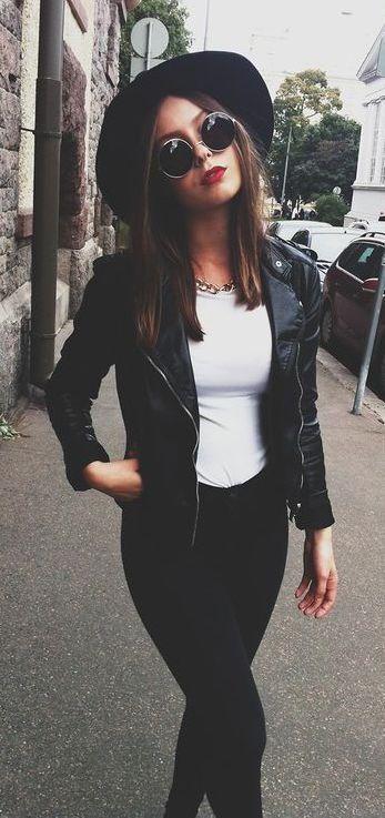 #fall #fashion / leather + tee
