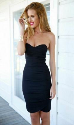 Robe Bustier Noire Ultra Moulante Mode Sexy Chic 2015