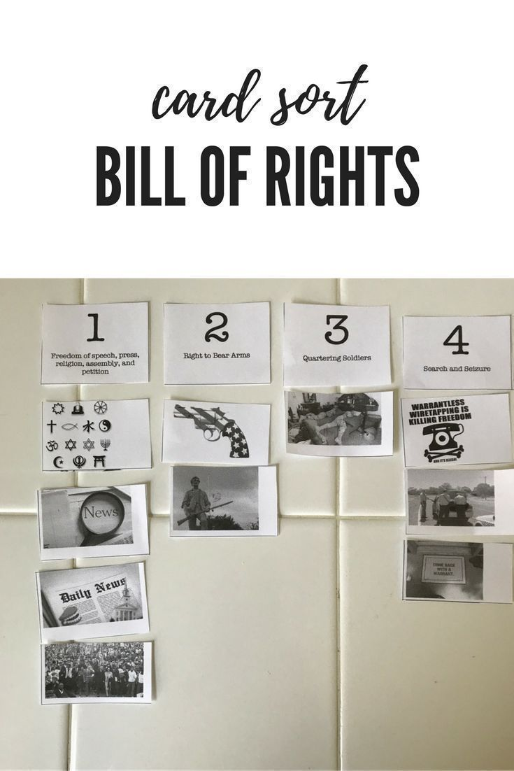 Students match pictures to the Bill of Rights.