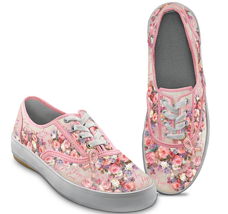 Pink Floral Breast Cancer Awareness Tennis Shoes