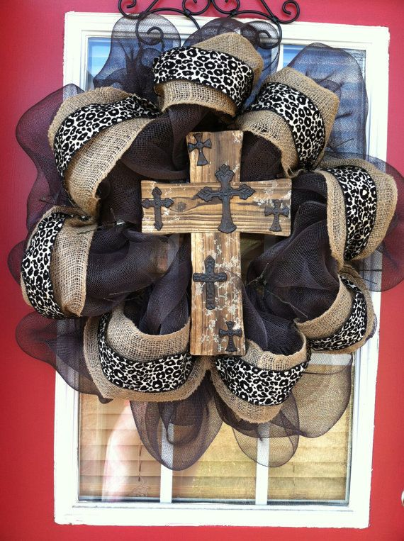 Large Burlap Wreath with Wooden Cross