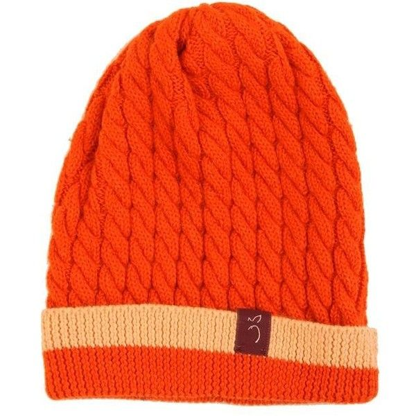 Plum of London - Cable Knit Beanie Hat Orange (€60) ❤ liked on Polyvore featuring accessories, hats, alpaca hat, cable knit hat, orange hat, cable hat and orange beanie