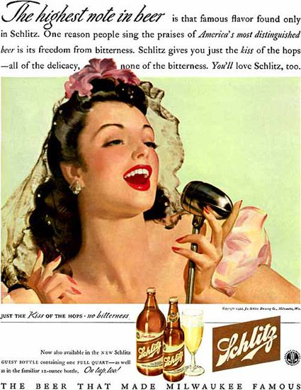 Schlitz Beer Milwaukee Singer Girl Just The Kiss - Mad Men Art: The 1891-1970 Vintage Advertisement Art Collection