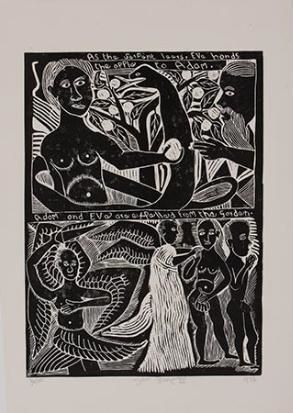 John Ndevasia Muafangejo, ADAM AND EVE ARE EXPELLED FROM THE GARDEN