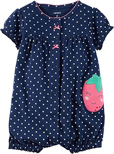Baby Girl Clothes Carter's Baby Girls' Snap-Up Cotton Romper (12 Months, Navy/Strawberry)
