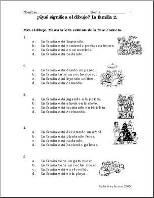 """Spanish: Frases y dibujos - La familia en blanco y negro. - Spanish vocabulary and grammar practice on the topic """"The Family"""" using picture sentences. Practique el vocabulario y las estructuras gramaticales usando frases y dibujos."""