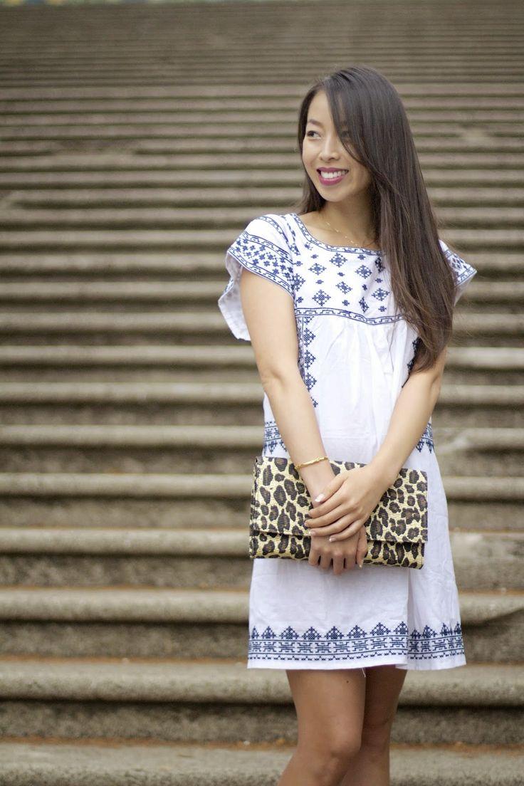 Kjole med korssting. Sy brem med korssting, fest på enkel kjole. Hippiekjole. :)