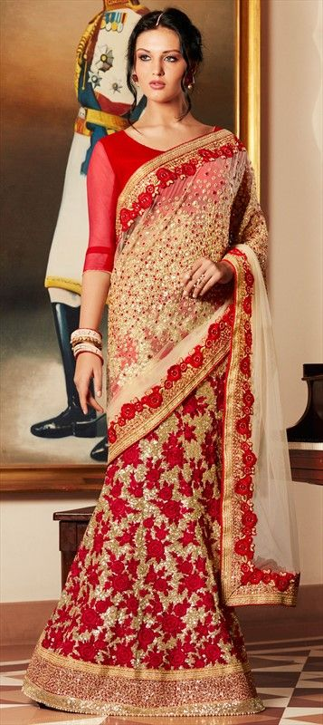 180894 Beige and Brown  color family Party Wear Sarees in Georgette, Net fabric with Lace, Machine Embroidery, Moti, Sequence, Zari work   with matching unstitched blouse.