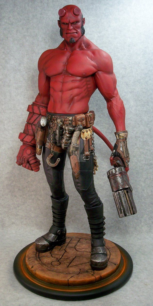 """Her is the 3rd Narin Hellboy kit that I painted. Stands 20""""tall. The Base was custom made by Narin and is a one of a kind piece."""