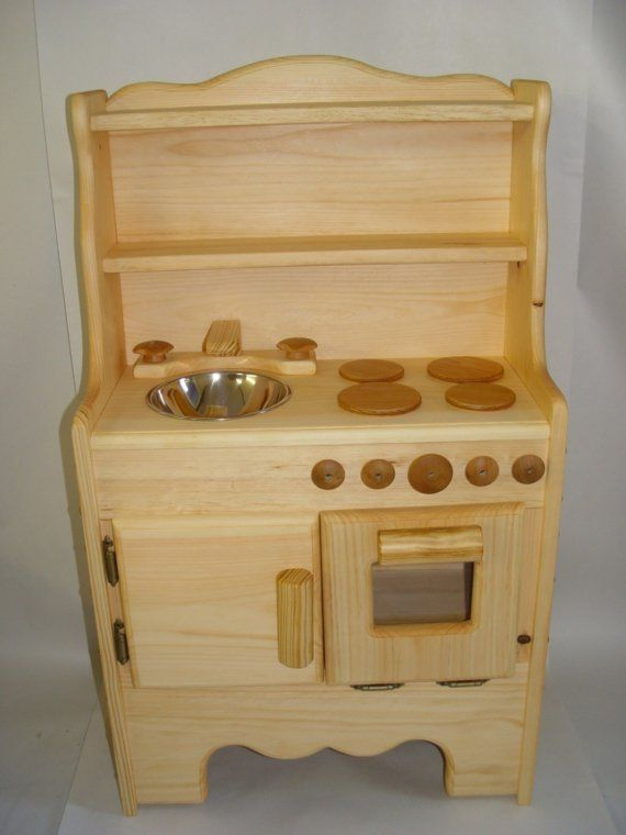 Child's Wooden toy Kitchen Waldorf kids play set by Willowtoys, $214.00