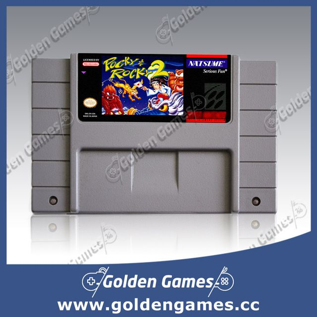 Pocky and Rocky 2 USA Version 16 bit  Big Gray Game Card For NTSC Game Player