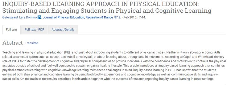 Inquiry-Based Learning Approach in Physical Education: Stimulating and Engaging Students in Physical and Cognitive Learning