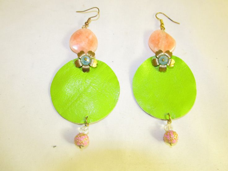 Handmade leather earrings (1 pair)  Made with light green leather, metal flower, semiprecious stones and glass beads.