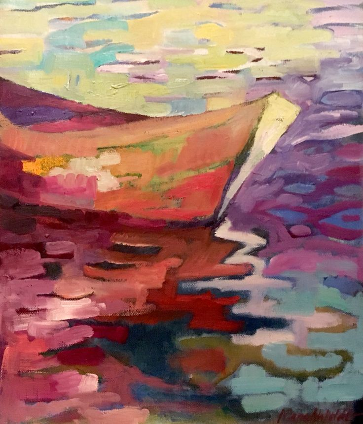 Reflection. Spegling. 51x41 cm + wood frame in white 2 cm. Oil painting on canvas by Marie Åhfeldt, Mås Illustra. www.masillustra.se #painting #art #masillustra #seaside #boat