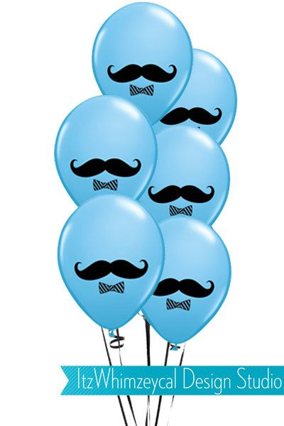 12 Blue Little Man Mustache Birthday Balloons by itzwhimzeycal