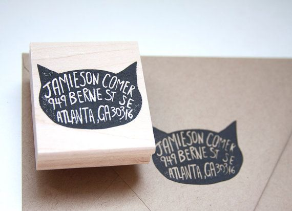 Cat Return Address Stamp, 2x3