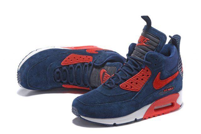 884df90389 Nike Air Max 90 Sneakerboot Men's Running Shoes Dark BlueRed #684714 ...
