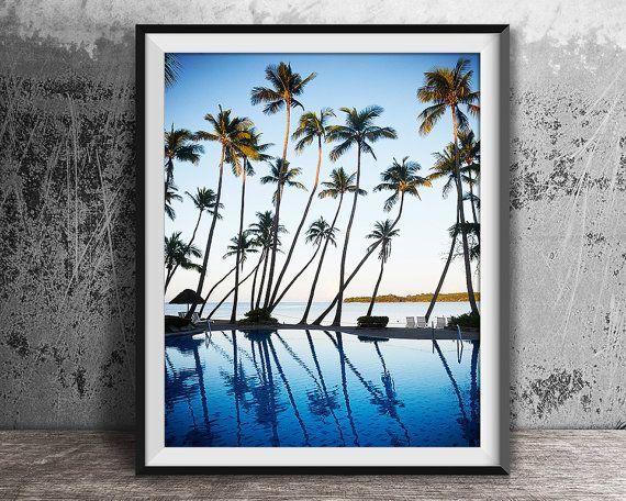 Palm Bäume Print tropische Print Ozean-Print von CoastalStylePrints