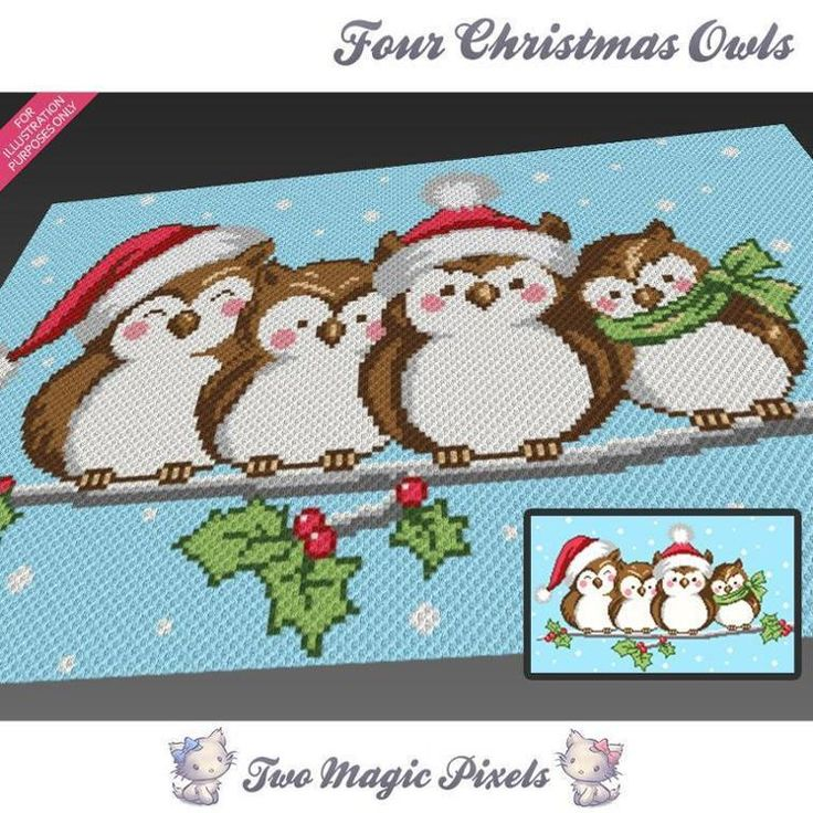 Four Christmas Owls c2c crochet graph | Craftsy