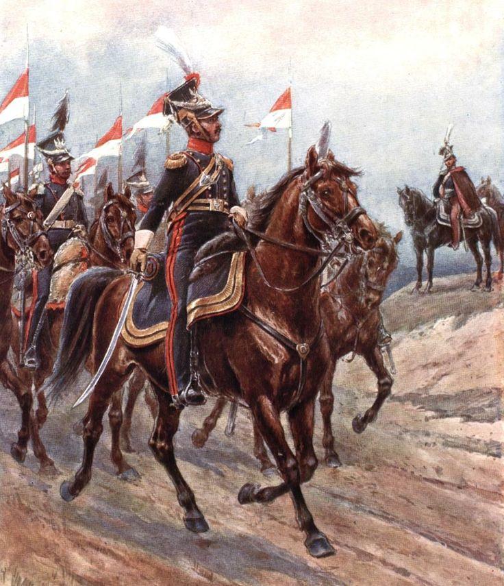 Księstwo Warszawskie - pułkownik 8 Pułku Ułanów na czele ...