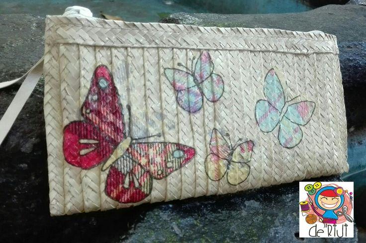 Long wallet butterfly  Material anyaman lontar Finishing decoupage