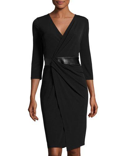 TQEWG T Tahari Tia Faux-Wrap Ruched Dress, Black