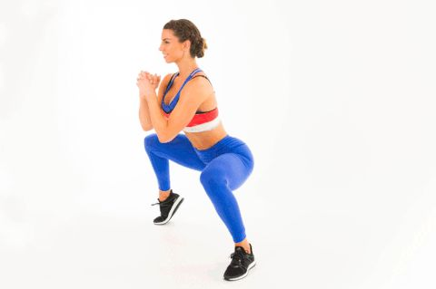 sumo-squat-alt-calf-raise How to do it: Begin with your feet wider than shoulder-width apart, toes pointed slightly outward. Keeping your knees above your ankles and chest high, bend your knees until your thighs are parallel to the ground. With control, raise one heel as high as you can without compromising your form. Release it to the floor, then repeat on the opposite side to complete one rep. Continue to alternate sides