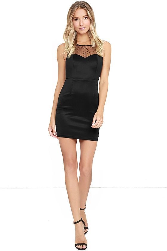 Lulus Exclusive! Ignite the night like the firework that you are in the Sparkler Black Rhinestone Bodycon Dress! Sheer black mesh is adorned in black rhinestones over a sleeveless bodice with back cutout and top button closures. Sleek black knit forms a sweetheart silhouette (with princess seams) atop a fitted waist and skirt. Hidden back zipper/clasps.