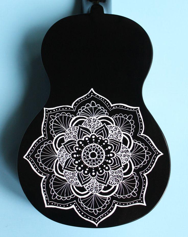 Black Ukulele with White Mandala by UkuLeeShee on Etsy