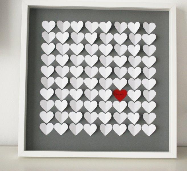 Einzigartiges 3D-Herzgästebuch zur Hochzeit - Herzgröße 5 cm